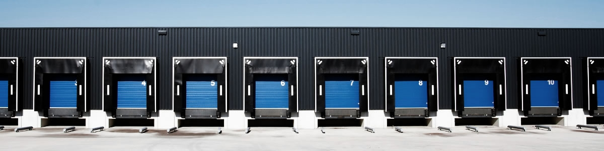 Logistics - vehicles waiting to leave warehouse