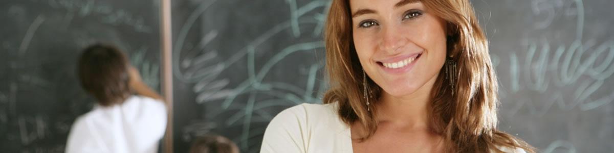 Higher education woman with blackboard
